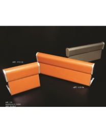 Covre meubelgreep doorgezet/achteraan as=96mm leder natuur+nikkel