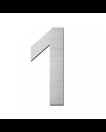 "Serafini huisnummer ""1"" H150xB95xD3mm boren/vijzen inox mat"