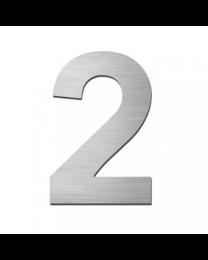 "Serafini huisnummer ""2"" H150xB95xD3mm boren/vijzen inox mat"