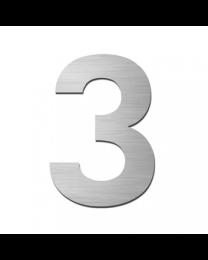 "Serafini huisnummer ""3"" H150xB95xD3mm boren/vijzen inox mat"
