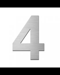 "Serafini huisnummer ""4"" H150xB95xD3mm boren/vijzen inox mat"