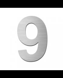 "Serafini huisnummer ""9"" H150xB95xD3mm boren/vijzen inox mat"