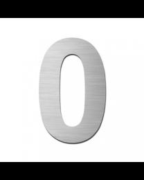 """Serafini huisnummer zelfklevend 15cm """"0"""" inox mat"""