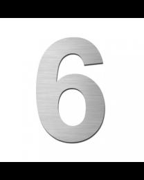 """Serafini huisnummer zelfklevend 15cm """"6"""" inox mat"""