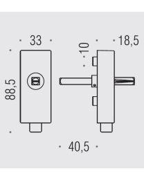 Colombo draaikiepmechanisme+sluiting/knop vierkant croom mat
