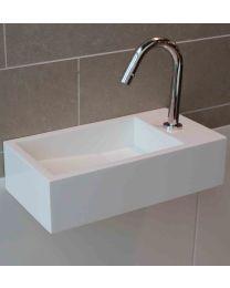 Luca Sanitair fontein 35x18,5x9cm wit mat solid surface kraangat li of re