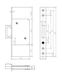 KFV deurslot inbouw met trekker voorplaat 24mm rechthoekig