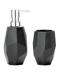 Zone zeepdispenser+beker vrijstaand keramiek zwart
