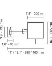 Windisch vergrootspiegel x5 vierkant dubbel uittrekbaar nikkel mat