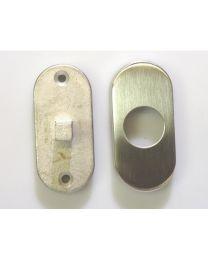 Cridea bevestiging+rozet deurknop vast ovaal inox mat /stuk