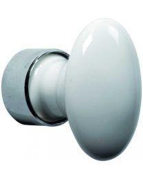 Wallebroek meubelknop ovaal B63xH51mm nikkel poli+wit porselein