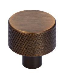 Siro meubelknop Ø24xH25mm geribbeld antiek messing geborsteld