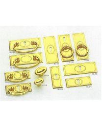 Jado sleutelplaat bloemmotief vertikaal messing poli 75x30mm /stk