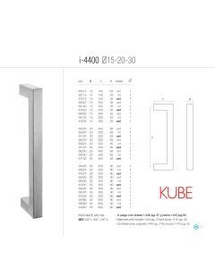 """Didheya deurgreep """"U"""" kube I4400 Ø15x200mm ext draad inox"""