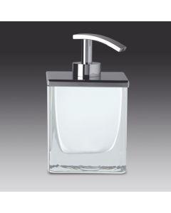 Windisch zeepdispenser staand H145x90x90mm glas wit + croom