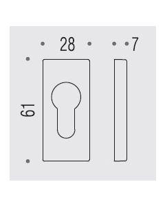 Colombo cylindersleutelplaat rechthoekig 61x28x7,5mm croom mat
