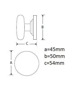 Wallebroek meubelknop op rozet ELEGANT Ø45mm croom poli