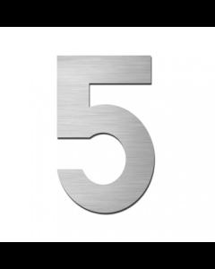 "Serafini huisnummer ""5"" H150xB95xD3mm boren/vijzen inox mat"