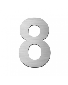 "Serafini huisnummer ""8"" H150xB95xD3mm boren/vijzen inox mat"