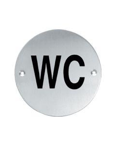 """Intersteel pictogram rond wc """"wc"""" met schroefgaten inox mat"""