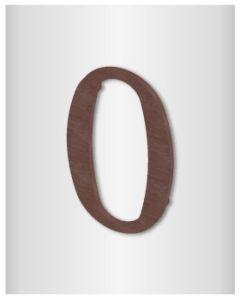 """Quincalux huisnummer roest 10cm """"0"""""""