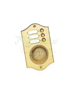 Pulsanterie Toscane belplaat met parlefoon 200x120mm 3 beldrukkers messing