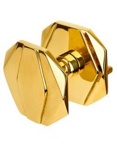 Picardie deurknop octogonaal 70mm - vast - messing poli