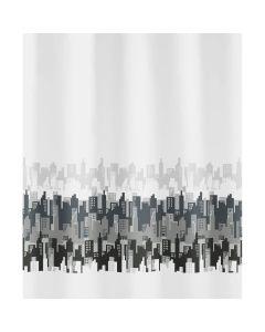 Kleine Wolke douchegordijn CITY 180x200cm textiel polyester zwart/wit