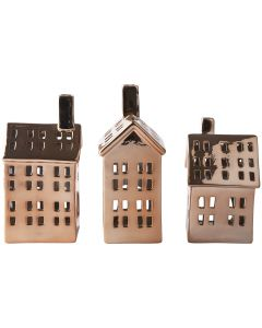 KJ figure house ceramic copper light H18,5x11,5x8,0 3 ass